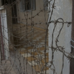 Hallways was blocked with barbed wire