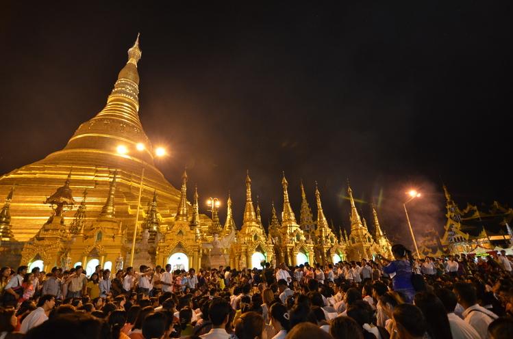 Shwedagon Pagoda at the full moon festival November 2013