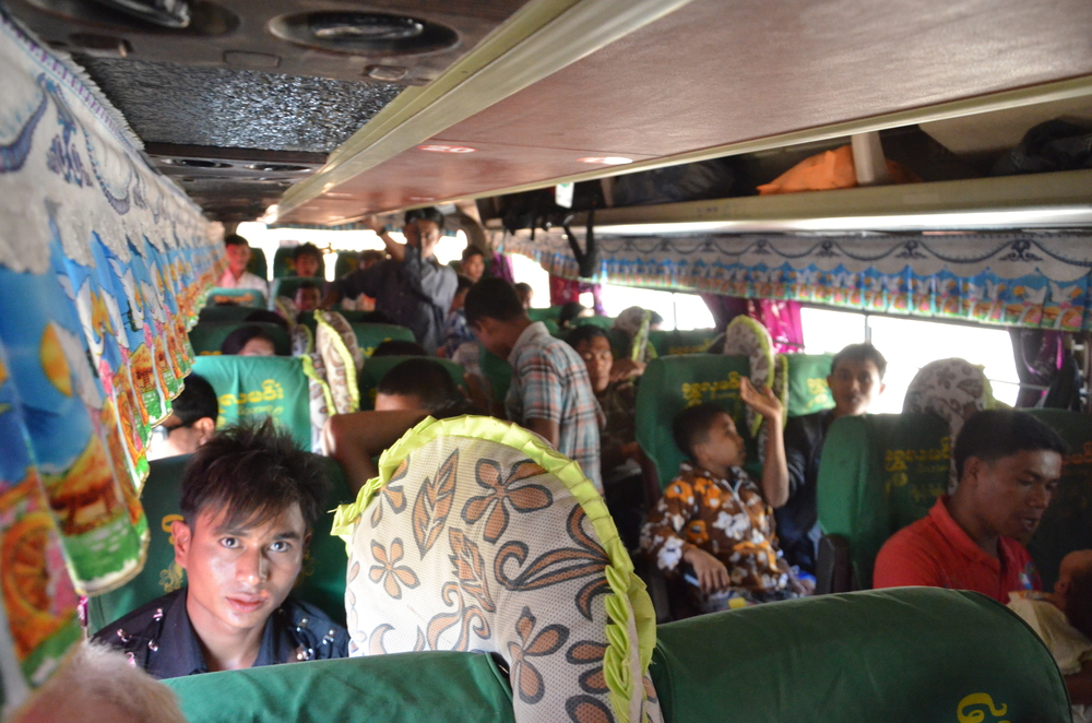 The interior of the bus from Mraug U to Mandalay. We were 3 foreigners on board