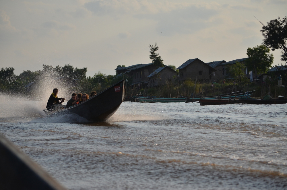 At long-tail boat at Inle lake