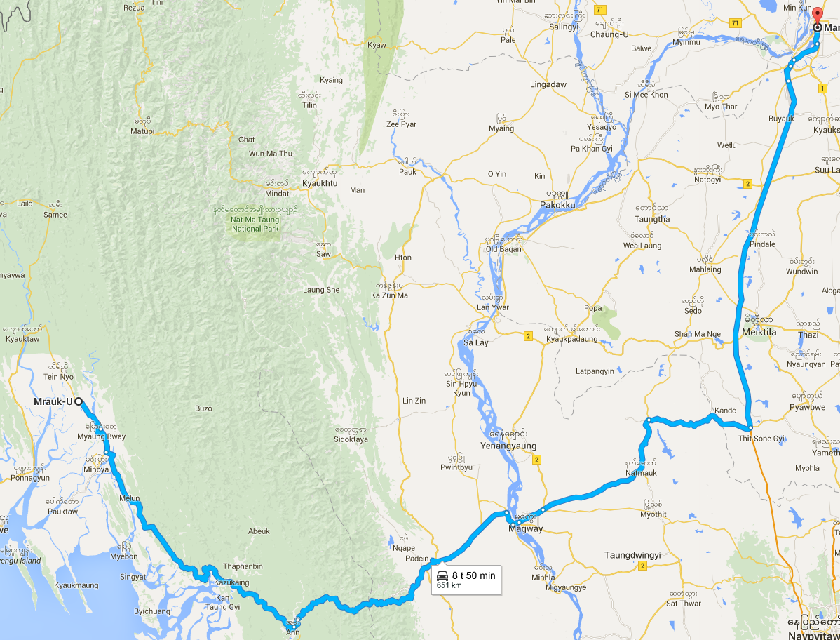 Google maps has increased its information on Myanmar, when I did the trip in January 2015 it could not provide route information. In December 2015 it just made the plan