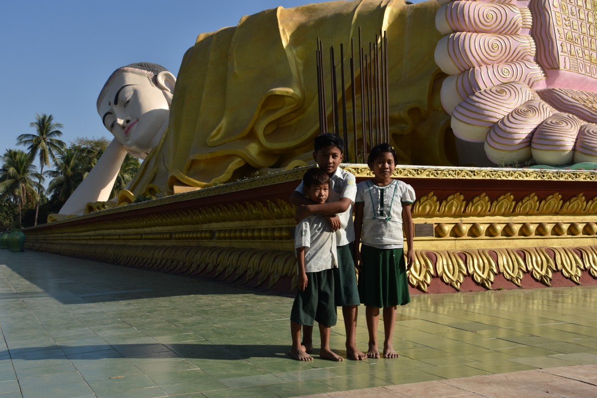 The largest reclining Buddha in Bago is found outdore