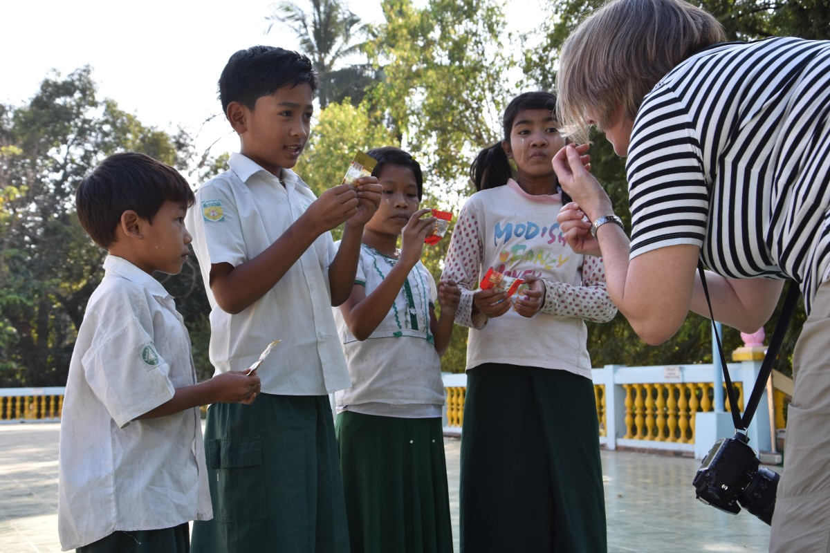 Burmese children also enjoys candy, even though they are not used to getting it in small plastic bags