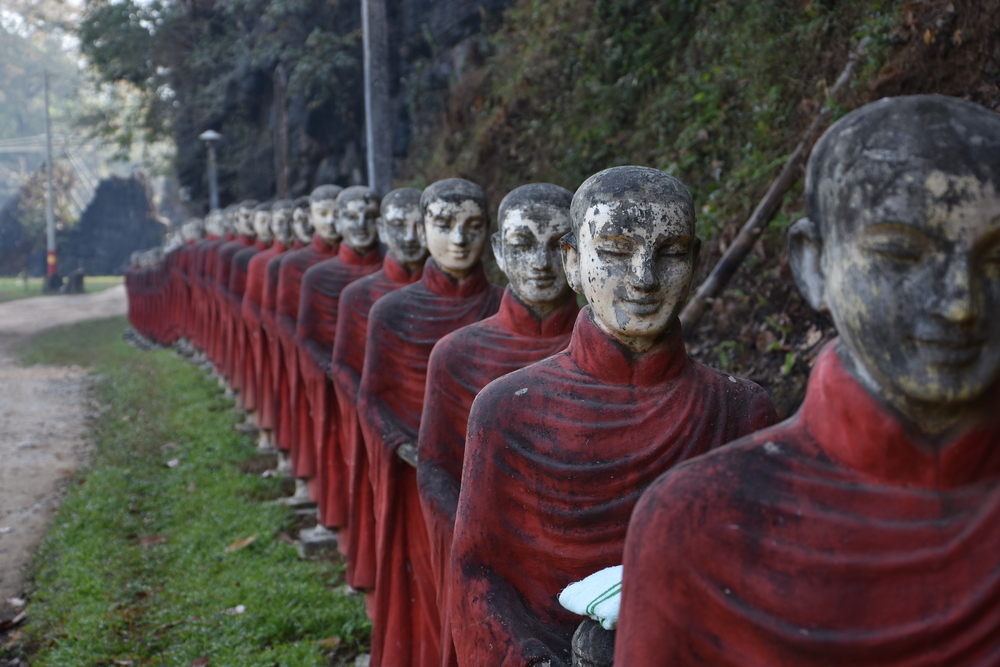 The monks line up for their morning walk.