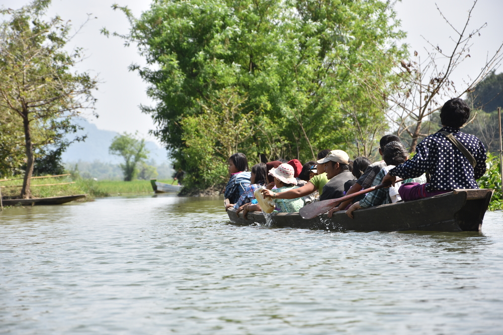 A boat for Burmese visitors can hold around 20 people