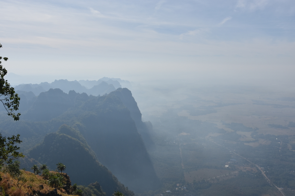 View from the top of Zwe Ka Pin towards south west. The 1121 Buddhas can be seen in the lower right side