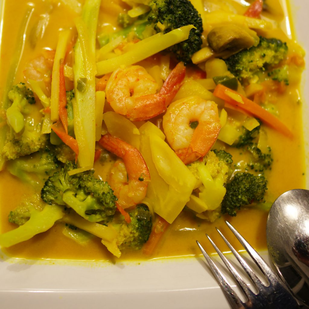 dish with prawns