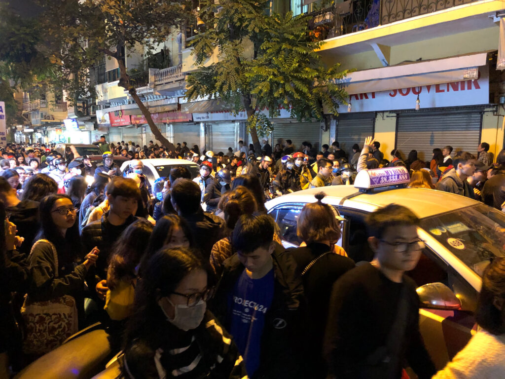 Hanoi new-years eve 2019. The streets are massively crowded